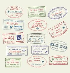 icons travel city passport stamp usa canada vector image