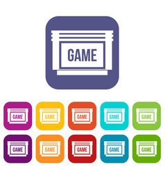 game cartridge icons set vector image