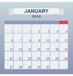 Calendar to schedule monthly january 2014 vector