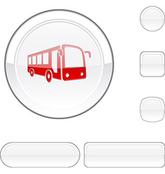 Bus white button vector