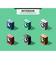 Set of washing machines in isometric style vector
