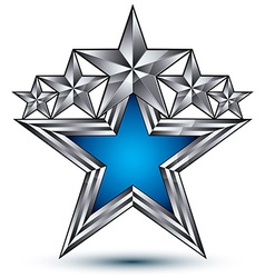 Royal blue star with silver outline geometric five vector