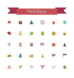 Holidays flat icons vector