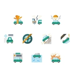 Colored icons for car insurance vector