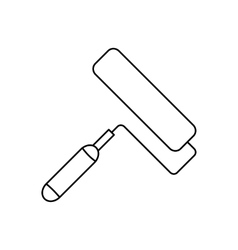 Paint roller line icon vector