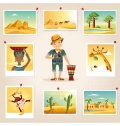 Africa photographer surrounded by photos vector