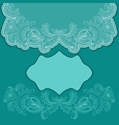 Lace turquoise greeting card with frame vector