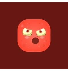 Pissed off red monster emoji icon vector