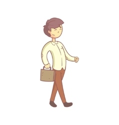 Office worker happily going to work vector