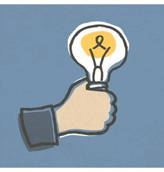 businessman hand with lightbulb vector image