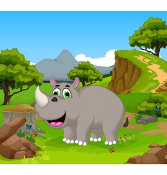 Funny rhino cartoon in the jungle with landscape b vector