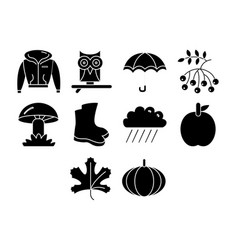 Autumn season icon set vector