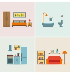 Banners with furniture icons for rooms of house vector image vector image