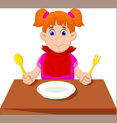 Cute little girl cartoon waiting for breakfast vector