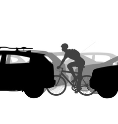 Cyclist in traffic vector