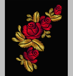 embroidery flower necklace ornament red rose vector image vector image