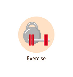 Exercise sport round flat icon wellness concept vector
