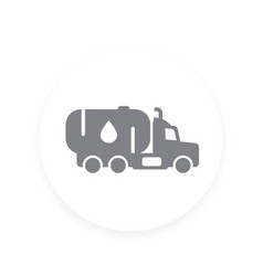 Gasoline tanker truck with petroleum icon vector
