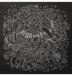 Hand-drawn chalkboard doodles Musical vector image vector image
