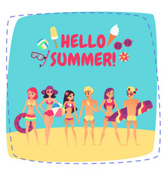 Hello summer company of young people on beach vector