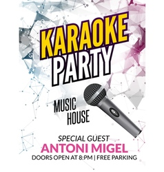 Karaoke party invitation poster design template vector