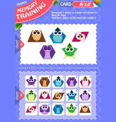 Memory game children shapes 5 vector