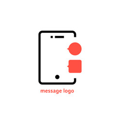 message logo with outline phone vector image