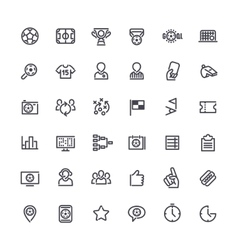 Outline icons on the theme of soccer vector