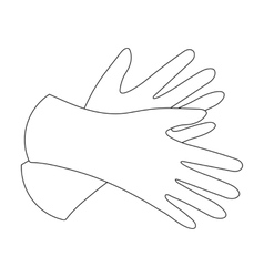 Rubber gloves icon in outline style isolated on vector