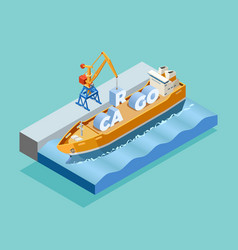 Seaport isometric template vector