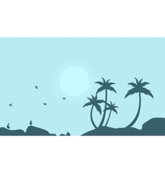 Silhouette of seabird and palm scenery vector image
