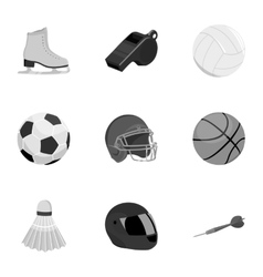 Sport and fitness set icons in monochrome style vector image vector image