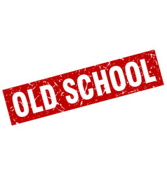 square grunge red old school stamp vector image