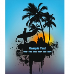 surfer on sunset vector image vector image