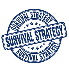 Survival strategy blue grunge stamp vector