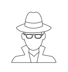 Suspicious looking man icon image vector
