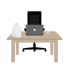 table wooden office vector image vector image
