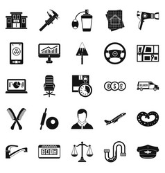 Transport department icons set simple style vector