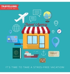 Travel and vacation flat icon set vector