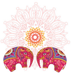 two elephants over mandala pattern vector image vector image