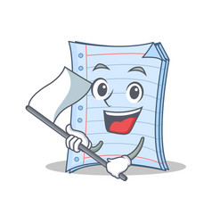With flag notebook character cartoon design vector