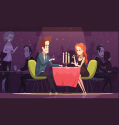 young couple drinking coffee in restaurant vector image