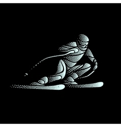 Giant slalom ski racer stippled silhouette vector
