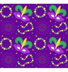 Mardi Gras Carnival seamless pattern with mask vector image