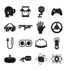 Virtual reality icons set simple style vector