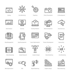 web and seo line icons 1 vector image