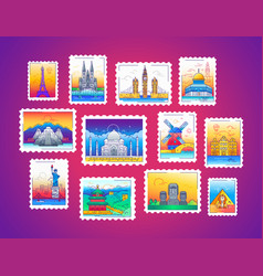 Stamps - line travel vector