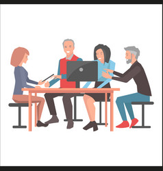 Smiling people sitting at table with black laptop vector
