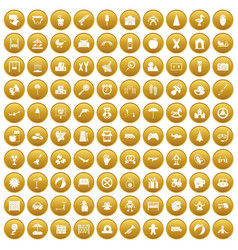 100 childhood icons set gold vector