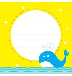 Frame with cute cartoon whale and sparkles card vector image